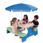 Little Tikes Easy Store Picnic Table with Umbrella-bluegreen 629952 ( Harga : Rp 1.900.000,- )